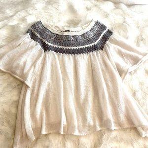 Free People Boho Sheer Butterfly Sleeve Sweater
